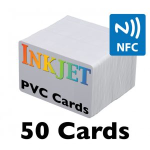 NFC Inkjet Printable PVC Cards (NTAG215) 13.56MHz Chip, 50 card pack